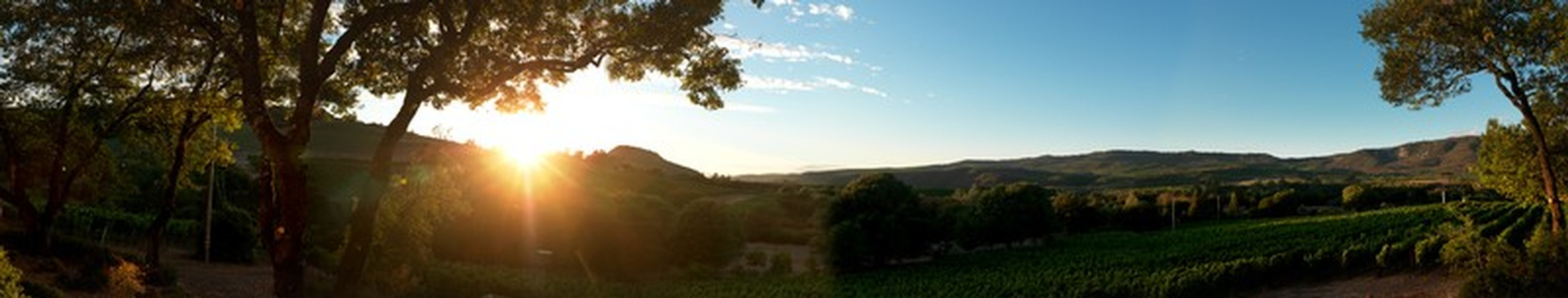 A panoramic view of our beautiful property on a clear day with blue skies as the sun sets in the background..