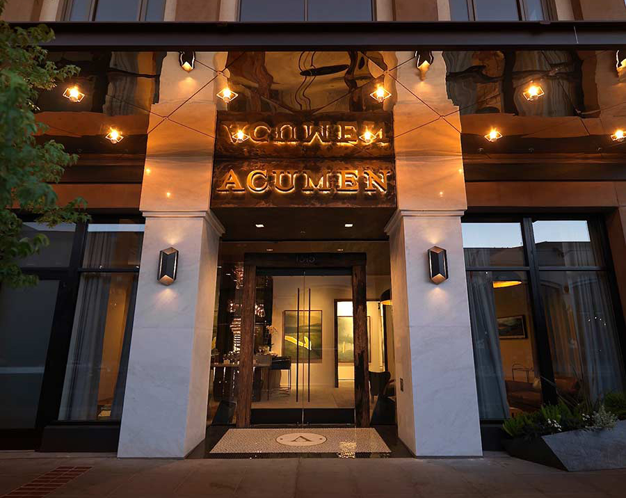 The entrance to the Acumen tasting room in Napa. The lit Acumen sign shows the elegance of our brand and welcomes you in for a comfortable tasting.